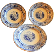Staffordshire Blue Transfer-Ware Cup Plates w/English Country Scene - Set of 3