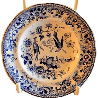 Staffordshire Blue Transfer-Ware Cup Plates w/Birds of Paradise & Floral Motif
