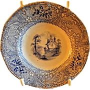 "Staffordshire Blue Transfer-Ware Cup Plate -  Davenport Ironstone ""Friburg"" Pattern"