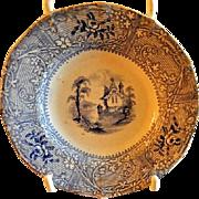 Staffordshire Blue Transfer-Ware Cup Plate w/Castle & Garden Scene Motif