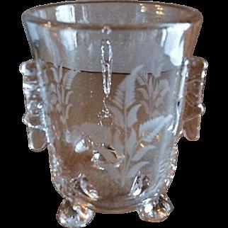 """EAPG - Riverside Glass Works """"Grasshopper"""" Pattern Glass Spoon Holder"""
