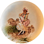 Charles Haviland Hand Painted Charger Plate w/Shepherdess & Her Sheep