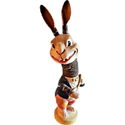 German Paper Mache Bobble Head Rabbit Playing a Banjo - Circa 1930
