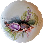 Charles Haviland & Co. Hand Painted Cabinet Plate w/Seascape Motif - #2 of 8 Plates