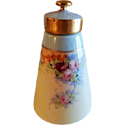 Bavaria Hand Painted, Signed, Talcum Powder Dispenser w/Pink & Red Rose Blossoms Motif