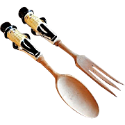 "Vintage Lefton's ""Mr Peanut"" Salad Serving Fork & Spoon"