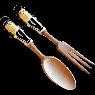 "Vintage Lefton's ""Mr Peanut"" Salad Serving Fork & Spoon"