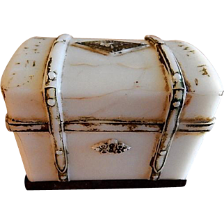 """Milk Glass Figural """"Steamer Trunk"""" Candy Container"""