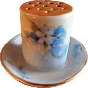 Porcelain Hand Painted Hat Pin Holder w/Delicate Shaded Blue Forget-Me-Not Blossoms Motif