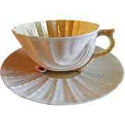 "Irish Belleek ""Neptune Yellow"" Cup & Saucer - 2nd Green Mark"