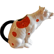 "Czechoslovakia ""Orange Spotted Cow"" Figural Cream Pitcher"