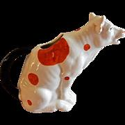 "Czechoslovakia ""Orange Spotted Cow"" Figural Cream Pitcher"