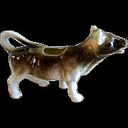 "Czechoslovakia ""Gray & White"" Cow Figural Cream Pitcher"