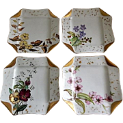 "Set of 4 Haviland & Co Limoges ""Napkin Fold"" H.P. Floral Dessert Plates, Circa 1880's"