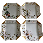 "Set of 4 Haviland & Co Limoges ""Napkin Fold"" H.P. Floral & Fruit Dessert Plates, Circa 1880's"