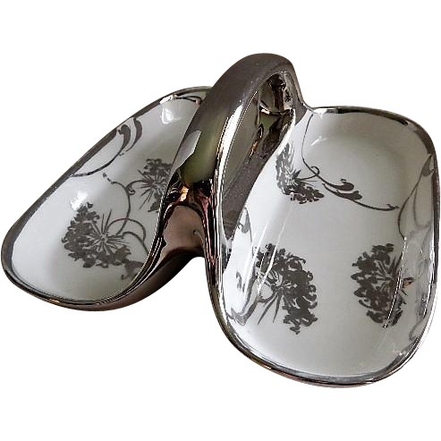 Charles Haviland & Co. Hand Painted Divided Relish w/Platinum Queen Anne's Lace Floral Motif