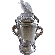 "EAPG - Crystal Glass Company ""Frosted Eagle"" Covered Sugar Bowl"