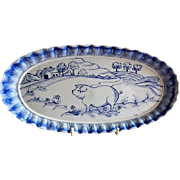 "Home Studio Hand Painted ""Pig In The Country"" Motif Oval Tray"