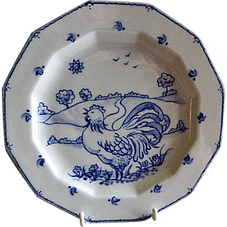 "Home Studio Hand Painted ""Rooster In The Country"" Cabinet Plate"