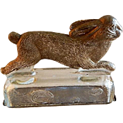 "Vintage ""Rabbit Running On A Log"" Figural Glass Candy Container"