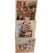 Antique Wooden Nesting Blocks w/Images of Victorian Era Children At Play