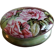 William Guerin Large Hand Painted Dresser/Jewelry Box w/Vivid Pink Rose Blossoms Motif
