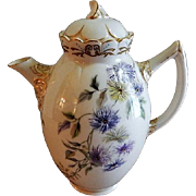 Ceramic Arts Company Belleek Hand Painted Tea Pot w/ Bachelor Button Floral Motif