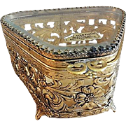 Vintage Filigree Ormolu Metal & Glass Vanity Casket