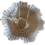 "Jefferson Glass ""Many Loops"" Pattern White Opalescent Fluted Bowl"