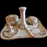 Paratoud Freres Porcelain Hand Painted 8-Piece Dresser/Vanity Set w/Crocus Blossoms Motif