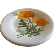 "Syracuse China - Atchison, Topeka & Santa Fe Railroad ""California Poppy"" Pattern Individual Butter Pat"