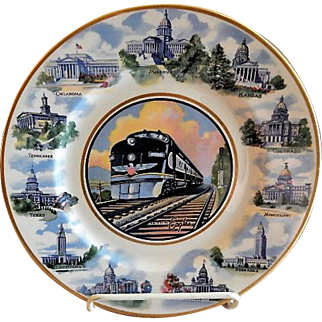 """Syracuse China - Missouri Pacific Railroad """"State Capitols"""" Pattern Service Plate - Route of the Eagles"""