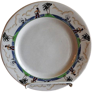 """Syracuse China - Illinois Central Railroad """"Pirate"""" Pattern Dinner Plate"""