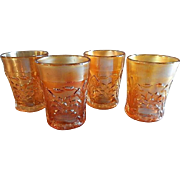 "Fenton Marigold Carnival ""Waterlily & Cattails"" Pattern Tumblers - Set of 4"