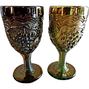 """(Pair) Imperial Carnival """"Grape"""" Pattern Wine Glasses - Amethyst and Green"""