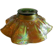 "Northwood Green Carnival ""Beads"" Fluted Bowl with Alaskan Iridescent Treatment"
