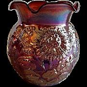 Vintage Imperial Glass Red Iridescent Floral Motif Vase