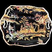 "Royal Winton Chintz ""Pekin"" Pattern Relish/Candy Dish - Black w/Gold Trim"