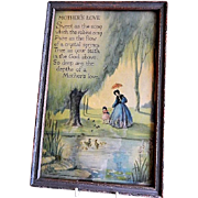 "Vintage Marygold Framed Print ""Mother's Love"" Motto"