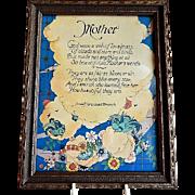 "Vintage Anna Hempstead Branch Framed Print ""Mother"" Motto"