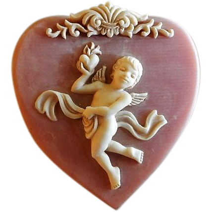 Vintage Incolay Stone Heart Shaped Hinged Box W Cherub