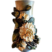 "J. J. West Company, Chicago, ""Terraline"" Barbotine Style Vase w/Water Lily Motif"