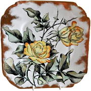 CFH/GDM Limoges Hand Painted Cabinet Plate w/Yellow Tea Rose Blossoms Motif - 4 of 4 Plates