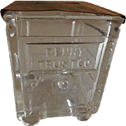 "Vintage ""Penny Trust Co."" Figural Glass Candy Container"