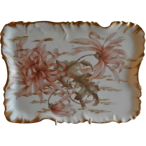 Charles Haviland & Co. Hand Painted Dresser/Serving Tray w/Spider Mum Floral Motif - Artist Signed