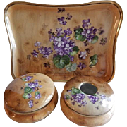 "Z. S. & Co. Bavaria Transfer ""Wild Violets"" Motif 5-Pc Dresser/Vanity Set"