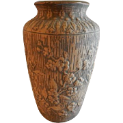 "Red Wing Union Stoneware Brushware ""Dogwood"" Floral Design Vase"