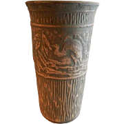 "Red Wing Union Stoneware Brushware ""Crane"" Scenic Design Vase"