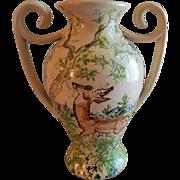 "Vintage Original Studio Pottery Vase ""Wildlife of Birchland"" - Bethel, Vermont"