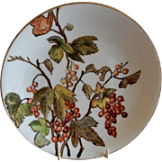 Charles Haviland & Co. Hand Painted Cabinet Plate w/Currants Motif - #5 of Set of 5 Plates